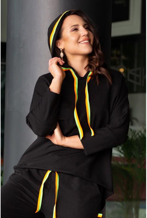 Czarne spodnie i spódnica zdobiony neonowymi troczkami duże rozmiary xxl