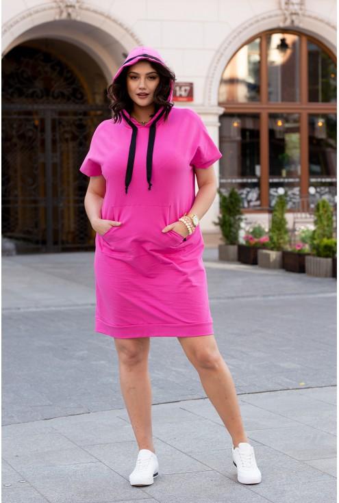 fuksjowa sukienka dresowa xxl