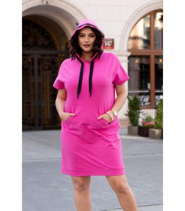 Fuksja sukienka dresowa z kapturem - ANETTE