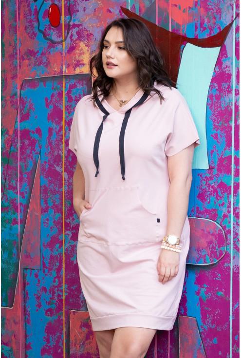 dresowa sukienka xxl różowa