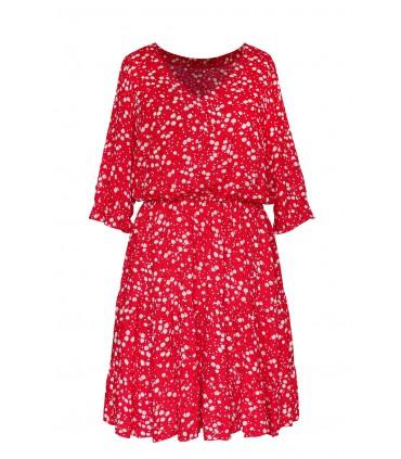 Czerwona sukienka z falbanami - wzór w dmuchawce - Matilde