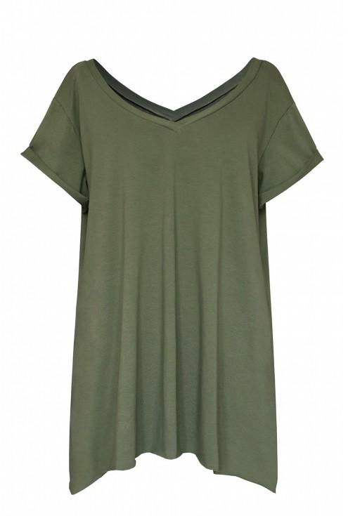 zielona bluzka w serek xlka