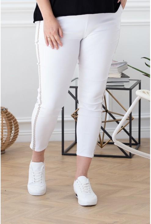 białe spodnie dresowe z wzorem xxl