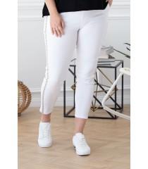 Białe spodnie elastyczne ze złotym wzorem - CATHERINE