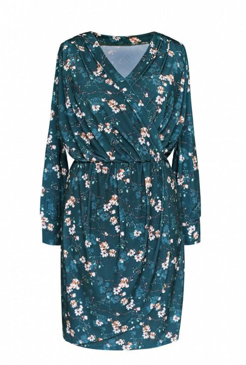 sukienka wzór w drobne kwiaty plus size