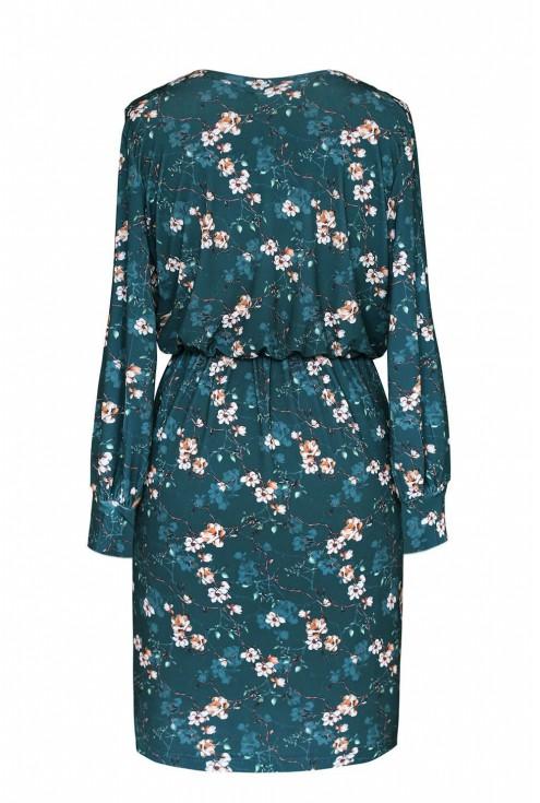 Ciemnozielona dopasowana sukienka z rozciętymi rękawkami - wzór w kwiaty - CELIA