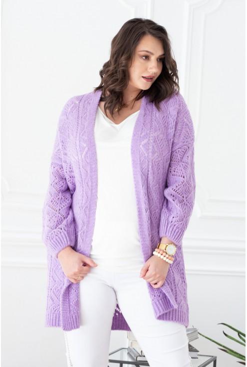długi liliowy sweterek