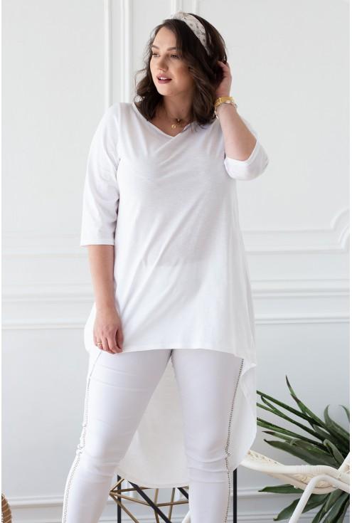 biała tunika z dłuższym tyłem xxl