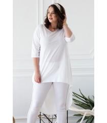 Biała gładka tunika z dłuższym tyłem - GINETTE