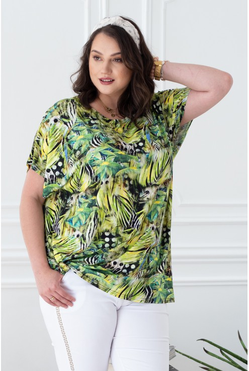 bluzka limonkowa wzór dżungla
