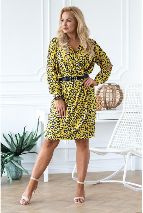 żółta sukienka w panterkę Celia