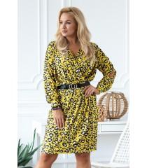 Żółta sukienka w panterkę z rozciętymi rękawami - CELIA