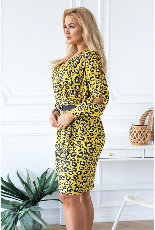 wygodna żółta sukienka w panterkę duże rozmiary