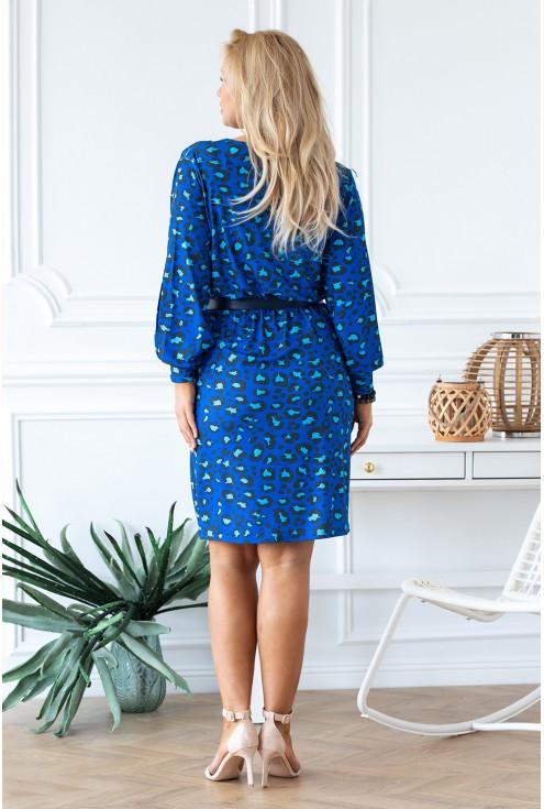 Niebieska sukienka w panterkę tył