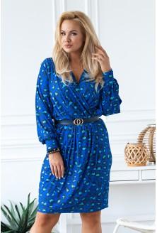 niebieska sukienka wzór w panterkę Celia