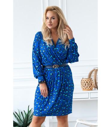 Niebieska sukienka w panterkę z rozciętymi rękawami - CELIA