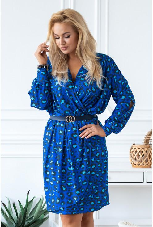 niebieska sukienka w panterkę xxl