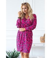 Różowa sukienka w panterkę z rozciętymi rękawami - CELIA