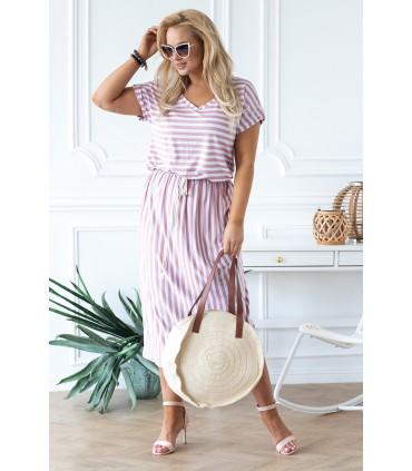 Biało-różowa sukienka maxi z wzorem w paski - LOLA