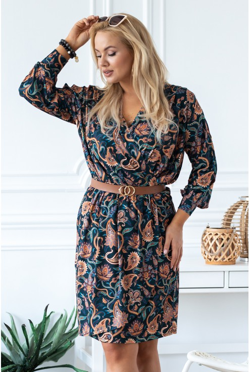 sukienka Celia w orientalny wzór plus size