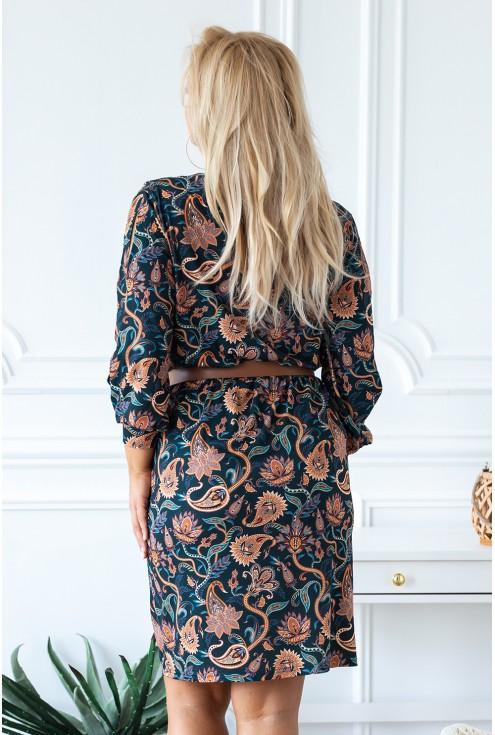 Ciemnozielona sukienka w orientalny wzór - CELIA