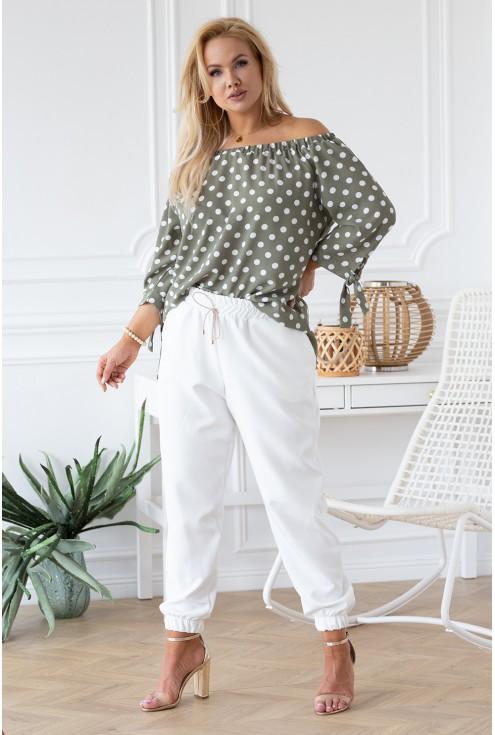 Białe eleganckie spodnie ze ściągaczami - VIVIANE