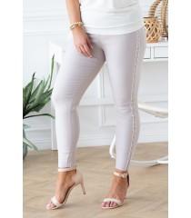 Beżowe spodnie elastyczne ze złotym wzorem - CATHERINE