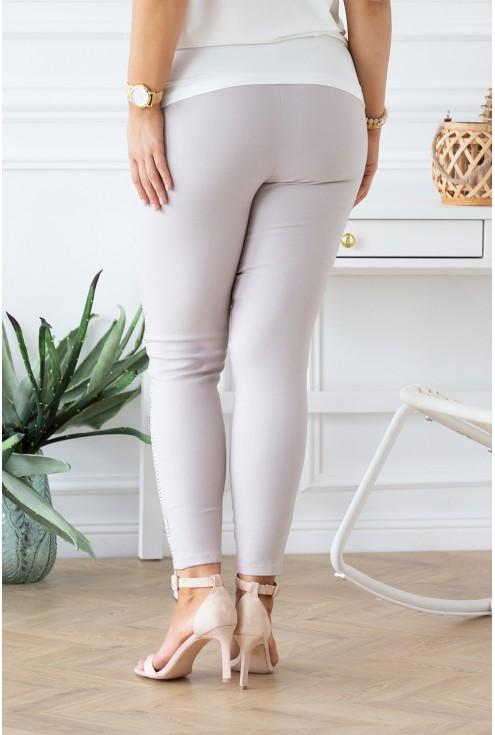 beżowe spodnie z kieszonkami Catherine duże rozmiary