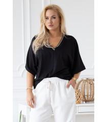 Czarna bluzka z ozdobnym ściągaczem na dekolcie - BRIGITTE