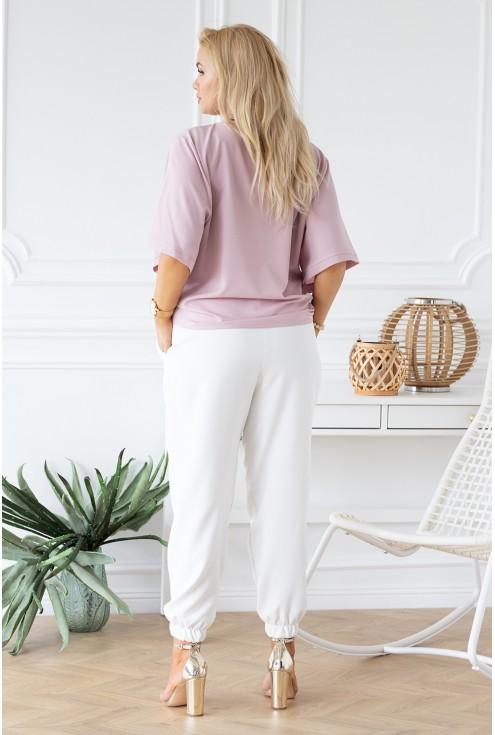 pudrowa bluzka Brigitte duże rozmiary