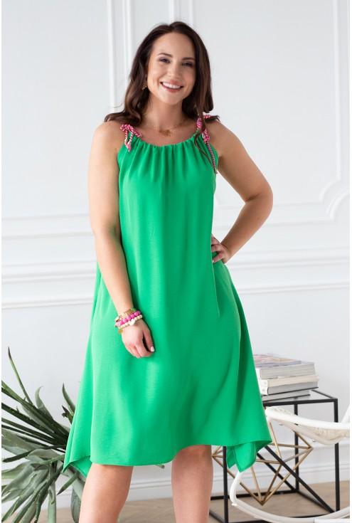 soczysta zielona sukienka z neonowymi sznurkami