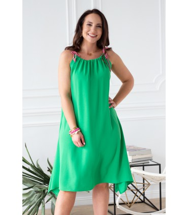 Zielona sukienka z neonowymi sznureczkami - SAMI