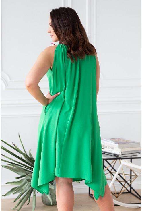 zielona sukienka tył z neonami na ramionach