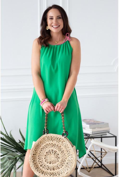 zielona sukienka ze sznureczkami Sami