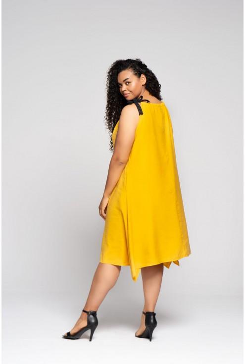 cytrynowa sukienka na ramiączka xxl