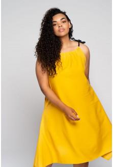 cytrynowa sukienka z neonowymi sznureczkami