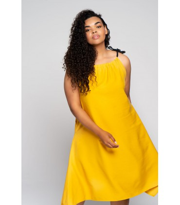 Cytrynowa sukienka z czarnymi sznureczkami - SAMI