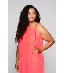 Różowa sukienka z neonowymi sznureczkami - SAMI
