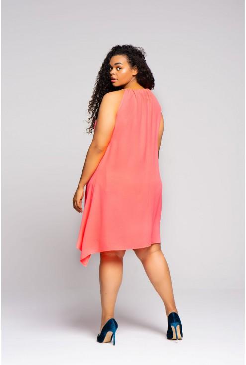 różowa sukienka ze sznureczkami xxl