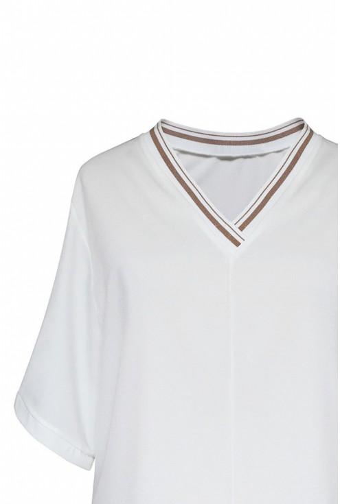 Ecru bluzka z ozdobnym ściągaczem na dekolcie - BRIGITTE