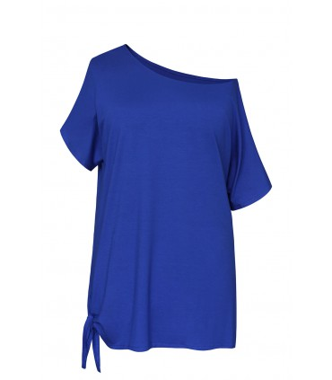 Bluzka z wiązaniem na boku DEANA - kolor chabrowy