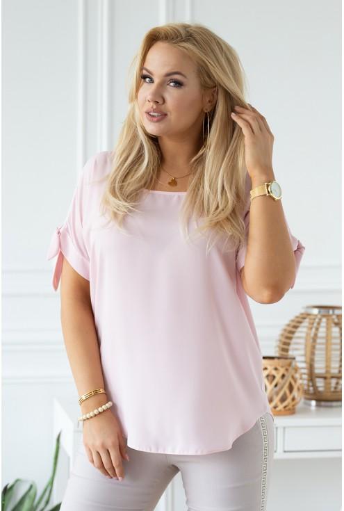 pudrowa szyfonowa bluzka plus size