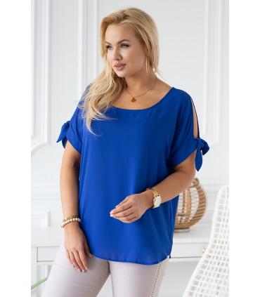 Chabrowa szyfonowa bluzka plus size - LARISS