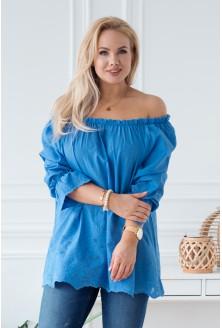 Niebieska bluzka hiszpanka z ozdobnym haftem DENISE