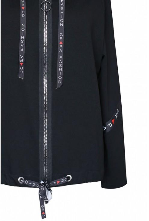 czarna bluza z kapturem Caroline