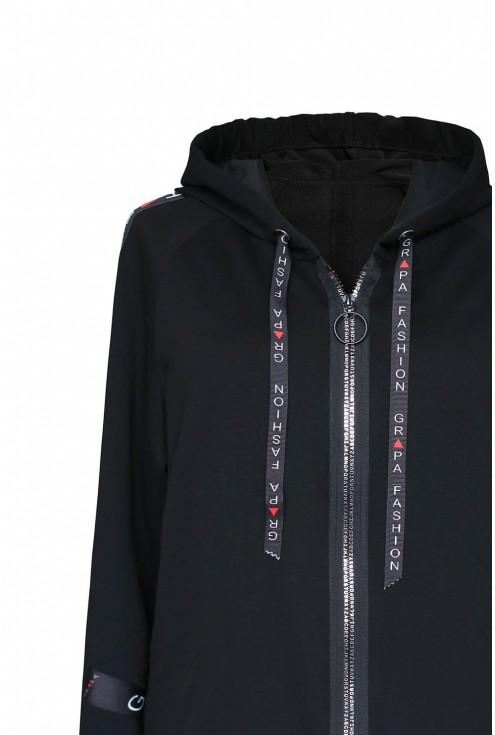 czarna bluza z ozdobnymi taśmami xxl