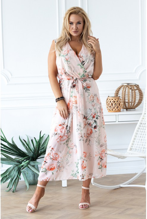 brzoskwiniowa sukienka maxi Emmanuelle