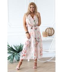Brzoskwiniowa sukienka maxi w kwiatowy wzór - EMMANUELLE