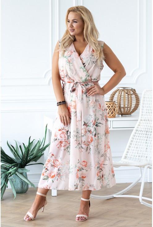 brzoskwiniowa sukienka duże rozmiary