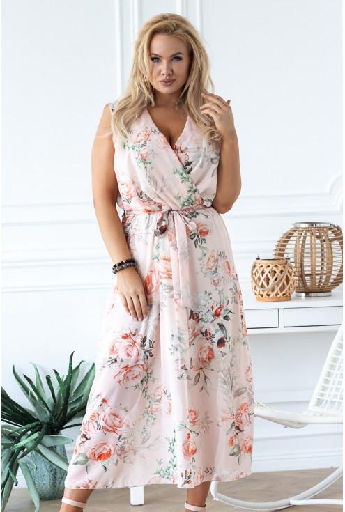 brzoskwiniowa sukienka w kwiaty xxl